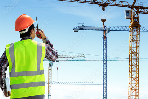 Engineers are working at building sites.
