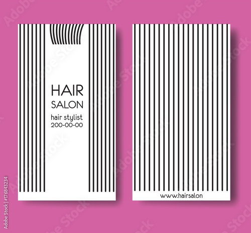 Template design card with long straight hair and forelock