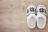 Slippers on wooden floor - 176844423
