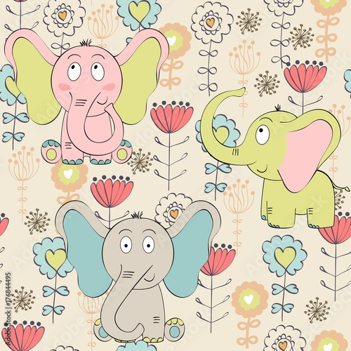 Vector seamless pattern with elephant and flowers - 176844495