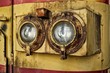 Detail of the double reflector of old diesel engine
