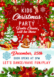 Christmas Santa gifts tree party vector poster - 176848099