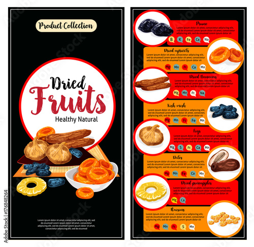 Dried fruit, superfood nutrition facts banner set
