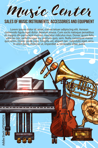 Fototapeta Music instrument sketch banner with musical notes