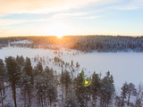 Aerial view of a Lapland winter landscape - 176860648