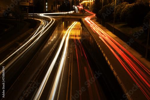 Aluminium Nacht snelweg light trails