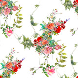 Watercolor painting of leaf and flowers, seamless pattern on white background - 176861863