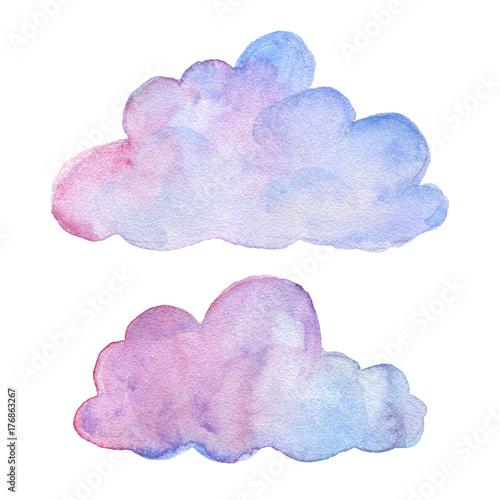 Chmury. Obiekty akwarela. Zestaw dekoracji strony