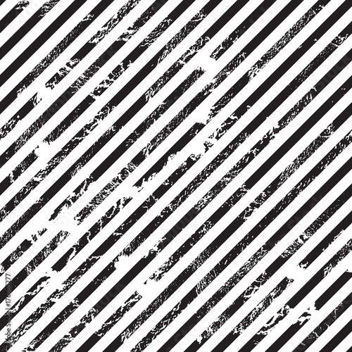 Materiał do szycia Black and white diagonal stripe background, grunge design, seamless pattern, vector illustration