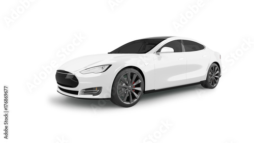 Electric Car Isolated on White