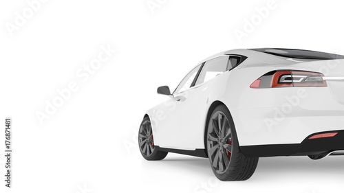 Fridge magnet Electric Car Isolated on White