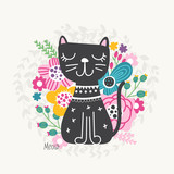 Illustration with cat and flowers
