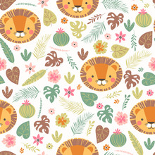 Cartoon seamless lion pattern