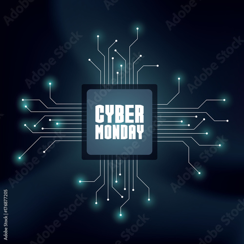Cyber Monday sale vector banner for advertising and promotion. Futuristic technology lines background.