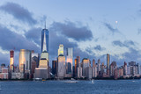 Lower Manhattan Skyline and moon rising at blue hour, NYC, USA - 176878612