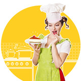woman chef and sweet cheesecake in her hand.Collage kitchen background - 176882084