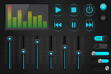 Sound control panel. Equalizer, set of media player buttons, sliders - 176882211