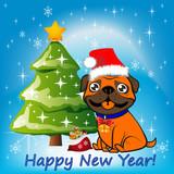 Illustration, Christmas orange dog sitting near a Christmas tree in a Santa Claus hat, - 176884883