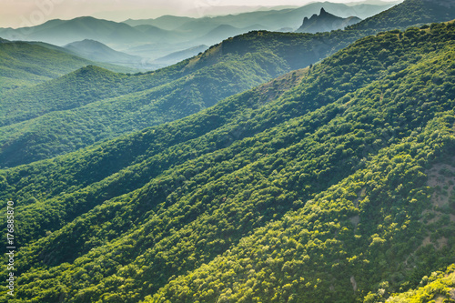 Fotobehang Groen blauw green mountains and hills