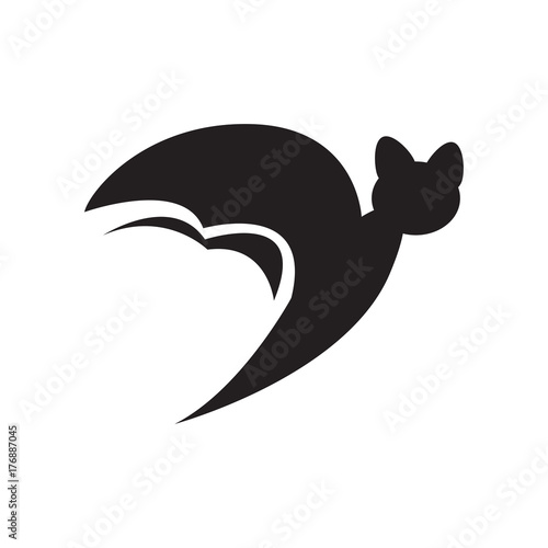 Icon of a bat isolated on white, Vector illustration