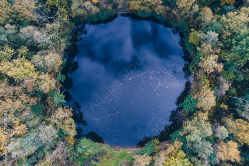 Aerial view of round shaped pond