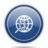 Search blue round web icon. Circle isolated internet button for webdesign and smartphone applications. - 176888812