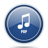 Pop music blue round web icon. Circle isolated internet button for webdesign and smartphone applications.