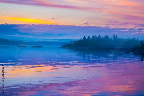 Poster Snoeien Russia. Karelia. Fog over the water. Ladoga lake.
