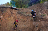 Accident on motocross. Crazy cross-country motorcyclist falls from the mountain. - 176889655