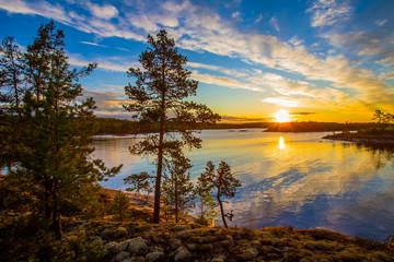 Russia. Karelia. Ladoga lake. Morning on the Ladoga lake.