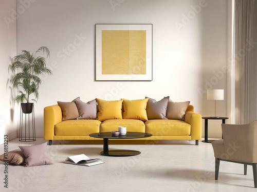Współczesne nowoczesne wnętrze z żółtą kanapą