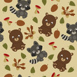 Woodland animals seamless pattern