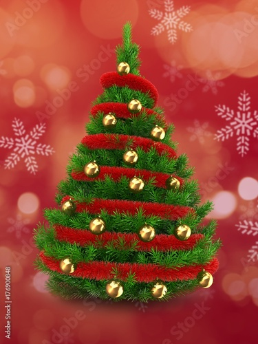 3d green Christmas tree