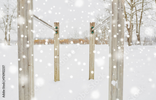 parallel bars outdoors in winter