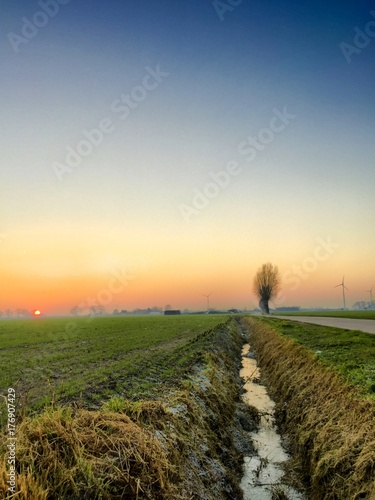 Fotobehang Lente Dramatic colorful countryside sunrise with trees and silhouettes