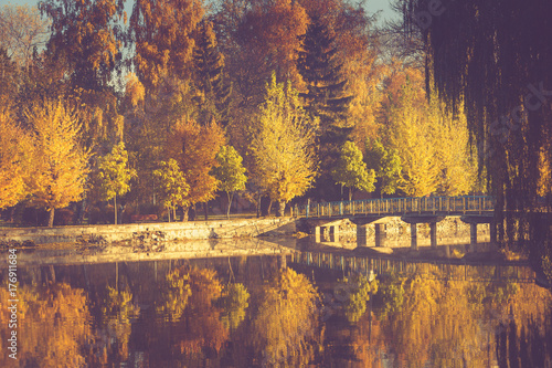 Fridge magnet Autumn landscape in morning park. View of colorful trees and reflection in water. Filtered image:cross processed vintage effect.