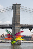 A colorful palm sculpture and a brooklyn bridge - 176912009