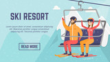 Ski resort web page template. Smiley Caucasian white man and woman skiers sitting on ski lift with raised hands. Winter leisure sport activity concept. Vector flat design illustration with copyspace. - 176914400