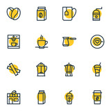 Vector Illustration Of 16 Coffee Icons. Editable Pack Of Coffeemaker, Cup, Sweetener And Other Elements. - 176914427