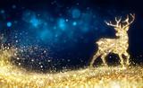 Christmas  - Golden Reindeer In Abstract Night