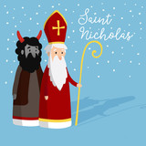 Cute Saint Nicholas with devil and falling snow. Christmas invitation card, vector illustration, winter background - 176918028