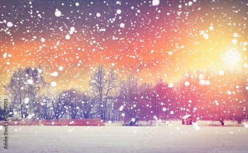Papiers peints Lavende Winter snowfall at morning colorful sunrise. Christmas background. Snowflakes glowing on bright sun. Xmas and New Year scene. Magical winter in fairy.