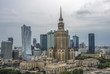 Warsaw, Poland. Aerial view Palace of Culture and Science and downtown business skyscrapers, city center. - 176922089