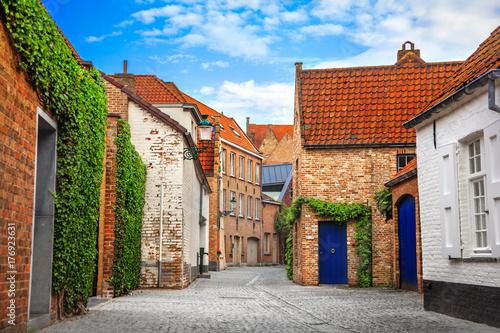 Tuinposter Brugge Street of Brugge, Belgium