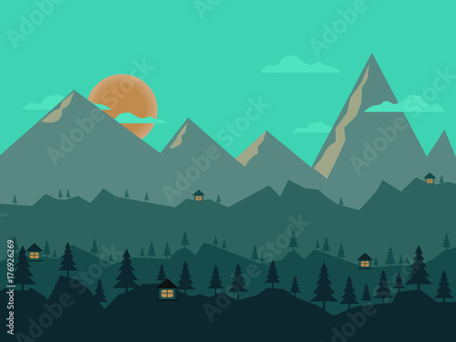 Foto op Canvas Groene koraal Night landscape with illuminated home, forest and mountains in the background. vector illustration.