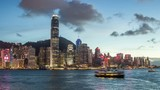 Time lapse of HongKong Skyline and victoria habour,from day to night - 176928435