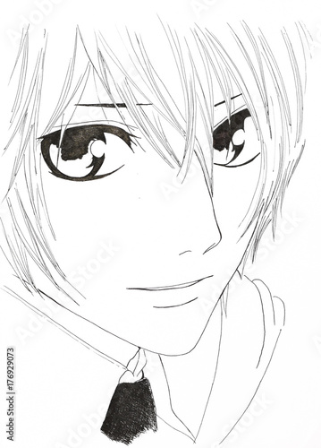 Drawing in the style of anime. Image of a man in the picture in - 176929073