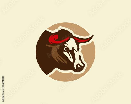 Bull logo, silhouette of a bull head, bull vector