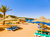 The view of hotel at Egypt at day with blue sky - 176934473