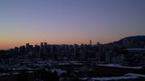 Sky slightly dark - Beautiful cold sunset of downtown Vancouver in December, HD - 176934880